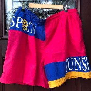 Vtg 90's ColorBlock SpellOut SunSports Swim Trunks
